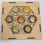 Chakra Flower of life in houten grid doos