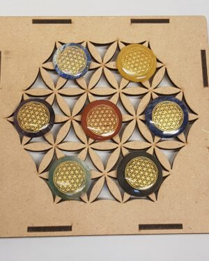 Chakra Flower of life in houten grid doos